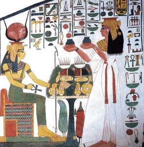 Nefertari offering to Hathor, from the tomb of Nefertari, Valley of the Queens